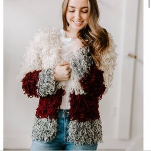 Hayden loop crochet chunky color block cardigan